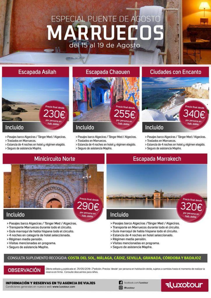 puente de agosto 2018 en marruecos